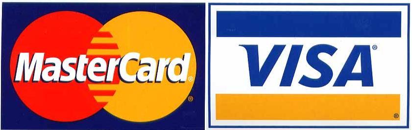 Wir akzeptieren Kreditkartenzahlungen von Visa oder Mastercard